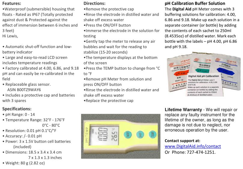 pH Meter Flyer page 2